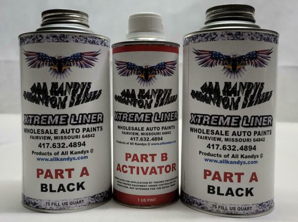 Two tall cans of black auto paint and one tall can of auto paint activator