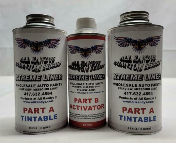 Two tall cans of tintable auto paint and a tall can of auto paint activator