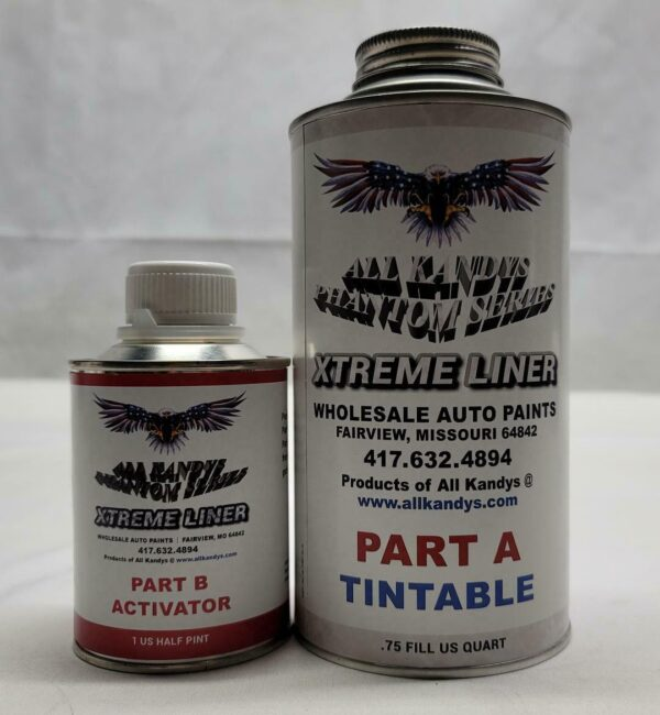 One tall can of tinted auto paint and one short can of auto paint activator
